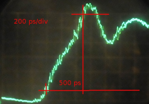 500ps at Tek 1S2, in real better because amplitude is lower.