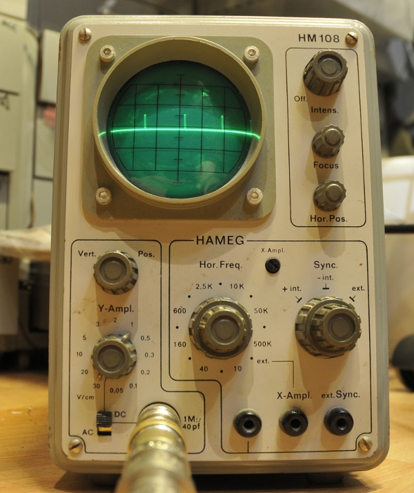 HM108 LF scope at 50mV division