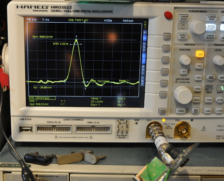 On a 350MHz oscilloscope while testing