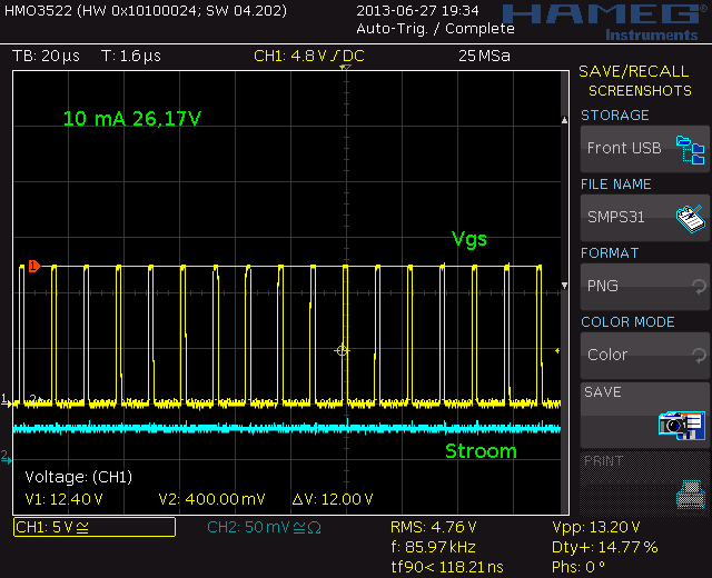 10 mA 26,17V 86 kHz and 14,8% duty cycle