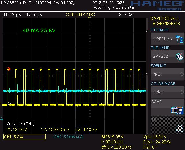40 mA, 25,6V, 88,19 kHz, 24,29% dc