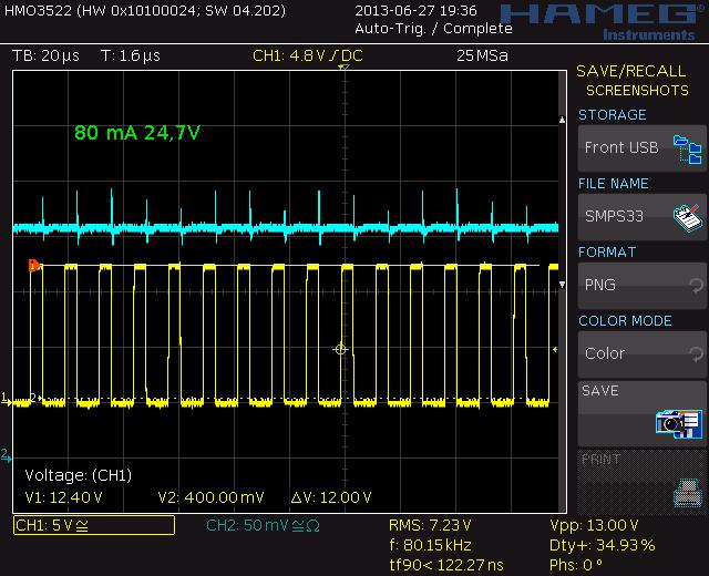 80 mA, 24,7V, 80,15 kHz, 34,9%