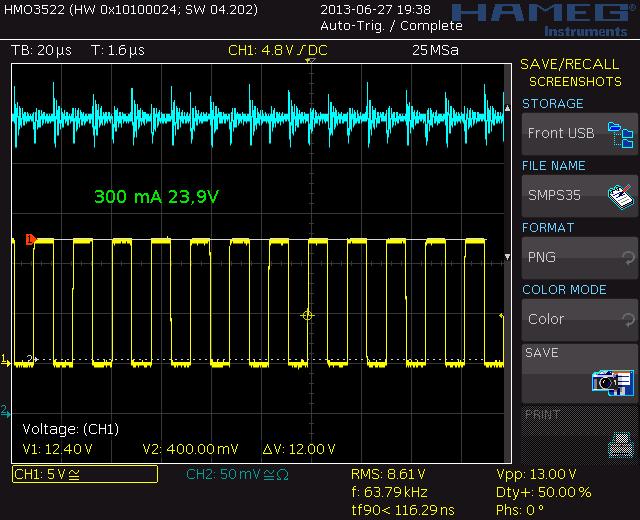 300 mA 22,75V, 63,8 kHz, 50%