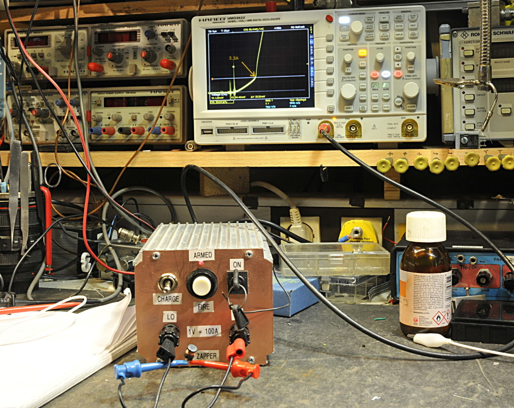 In action, testing a very small inductor from a buck converter