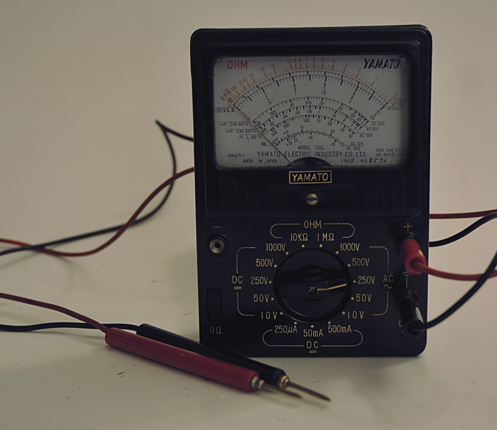The meter and probes ready to use
